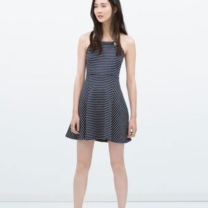 Zara Striped Nautical Halter Open Back Dress S